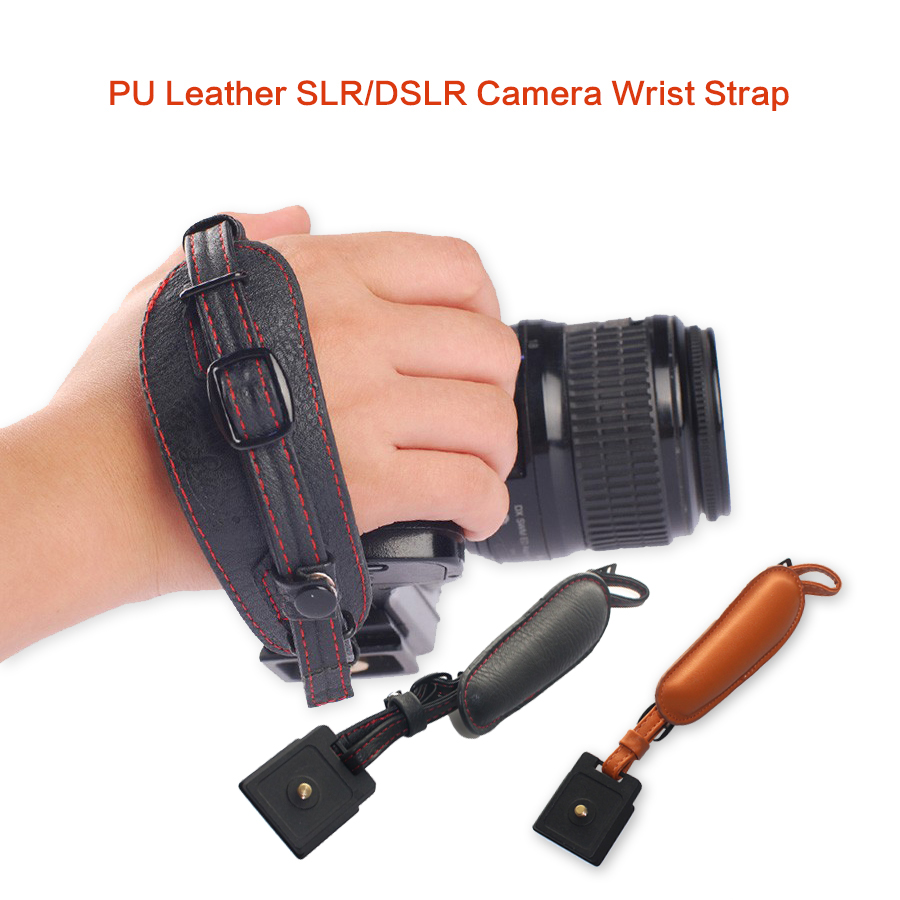 High Quality PU Leather Camera Hand Band Wrist Strap Belt with Metal Quick Release Plate for