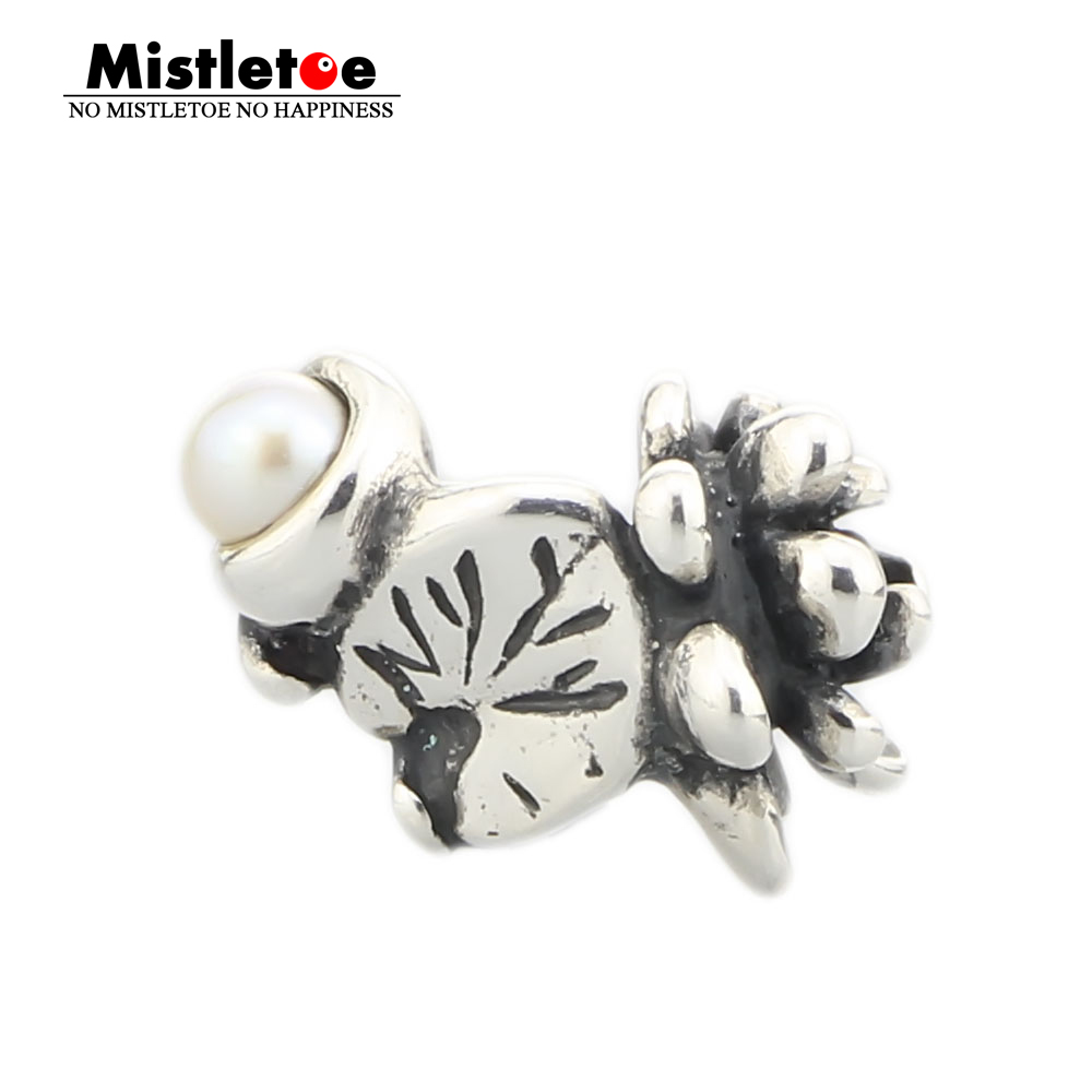 Mistletoe Jewelry Genuine 925 Sterling Silver Water lilies of July With White Pearl Charm Bead Fit European Troll 3.0mm Bracelet(China)