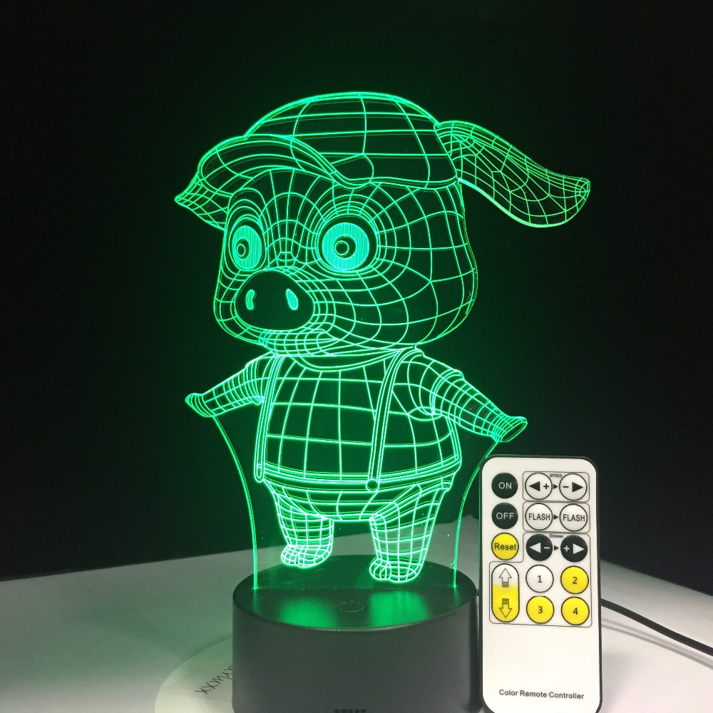 LED 3D Night Light Creative Gift Desk Lamp Home Lighting 7 Color Change Kids Gift Cute Pig Lamp with Remote Controller magnetic floating levitation 3d print moon lamp led night light 2 color auto change moon light home decor creative birthday gift