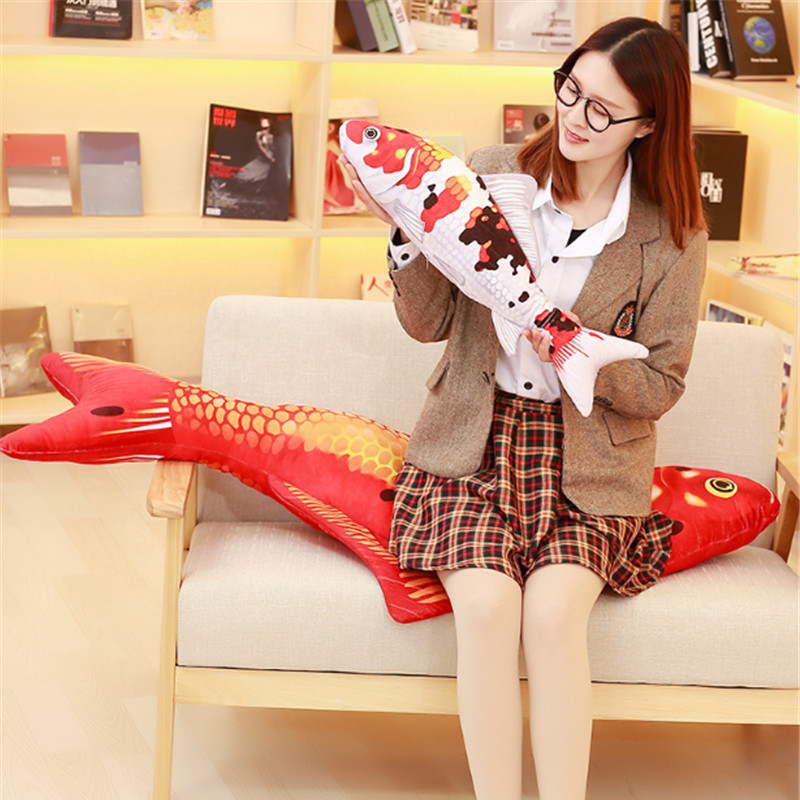 Fancytrader Realistic Soft Fish Toy Stuffed Good Lucky Red Fish Animals Plush Doll 130cm 51inch 6 Models fancytrader new style giant plush stuffed kids toys lovely rubber duck 39 100cm yellow rubber duck free shipping ft90122