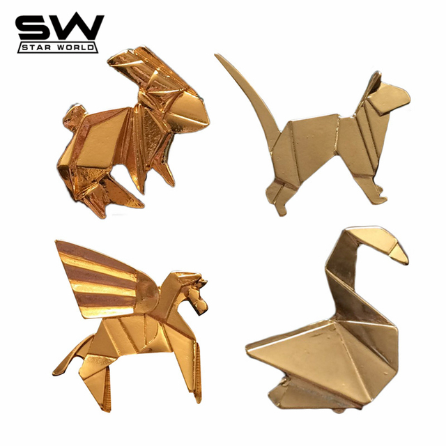 Origami Animal Brooches Fashion Gold Silver Plated 3D Horse Cat Rabbit Crane Pins Accessories For Women