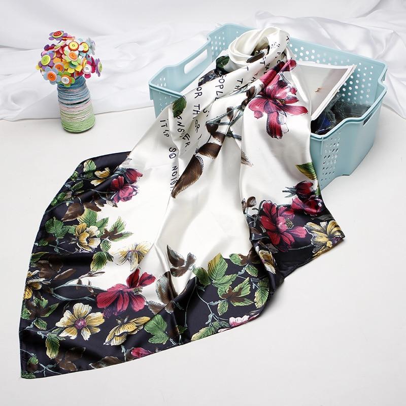 Fashion Hair Scarf For Women Floral Print Silk Satin Hijab Scarfs 90cm*90cm Square Headscarf Neckerchief Scarves For Ladies 2019(China)