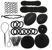 by DHL or EMS 200Set 9 In 1 Sponge Styling Accessories Tools Kit Set Hair Roller Braid Twist Bun Clip Maker Pads Hairpins