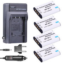 цена на 4Pcs NP-BY1 NP BY1 NPBY1 Battery + EU Adapter+ Car Charger For Sony HDR-AZ1VR AZ1 AZ1V AZ1VR Sport Action Cam Mini Camcorder