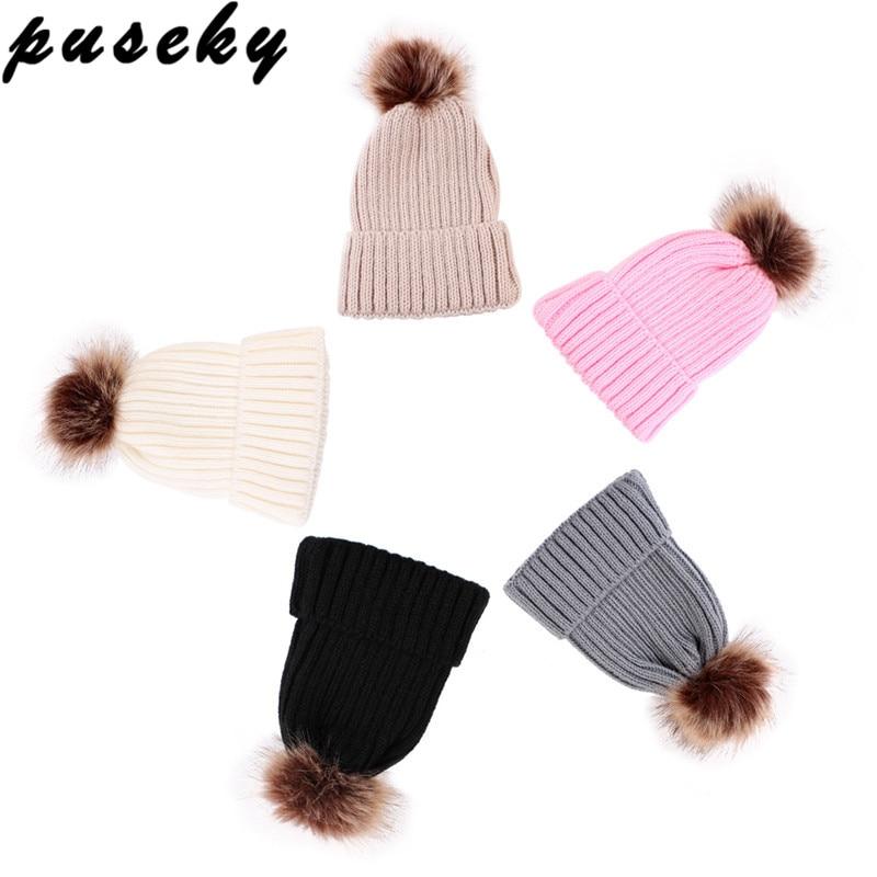 Puseky Artificielle Fourrure Chapeau Pour Enfants Enfants Bébé Garçons  Filles D hiver balle Tricot Faux 1cbb71f6afc