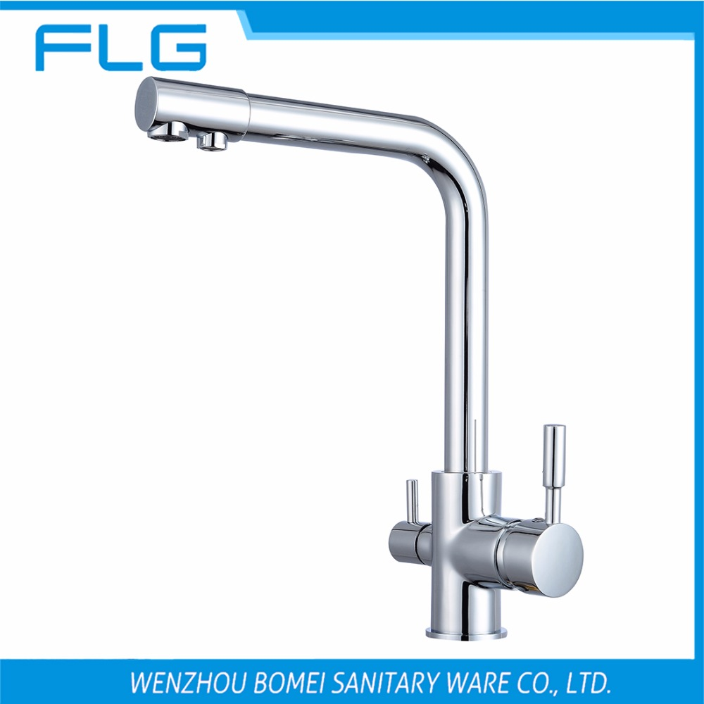 Free Shipping Brand NEW Kitchen Sink Faucet Tap Pure Water Filter Mixer Dual Handles Chrome
