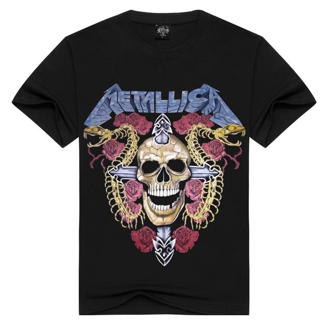 Лето Metallica Мужская футболка для мужчин/женщин 100% хлопок Повседневная Череп Роза футболка с круглым вырезом рок футболка s тяжелый металл XXXL