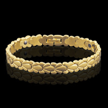 HOMOD Health Magnetic Wheat Chain Bracelets for Women Men Power Gold-color Steel & Bangles Jewelry
