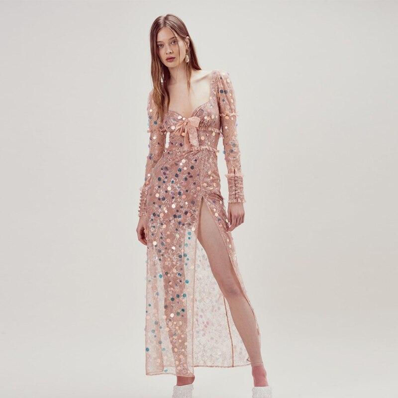 Femmes Qualité Robe Rose Moulante Arrivent Longue De Sexy Nouveau 2019 Manches Printemps Haute Pleine Paillettes Parti xPqAAC