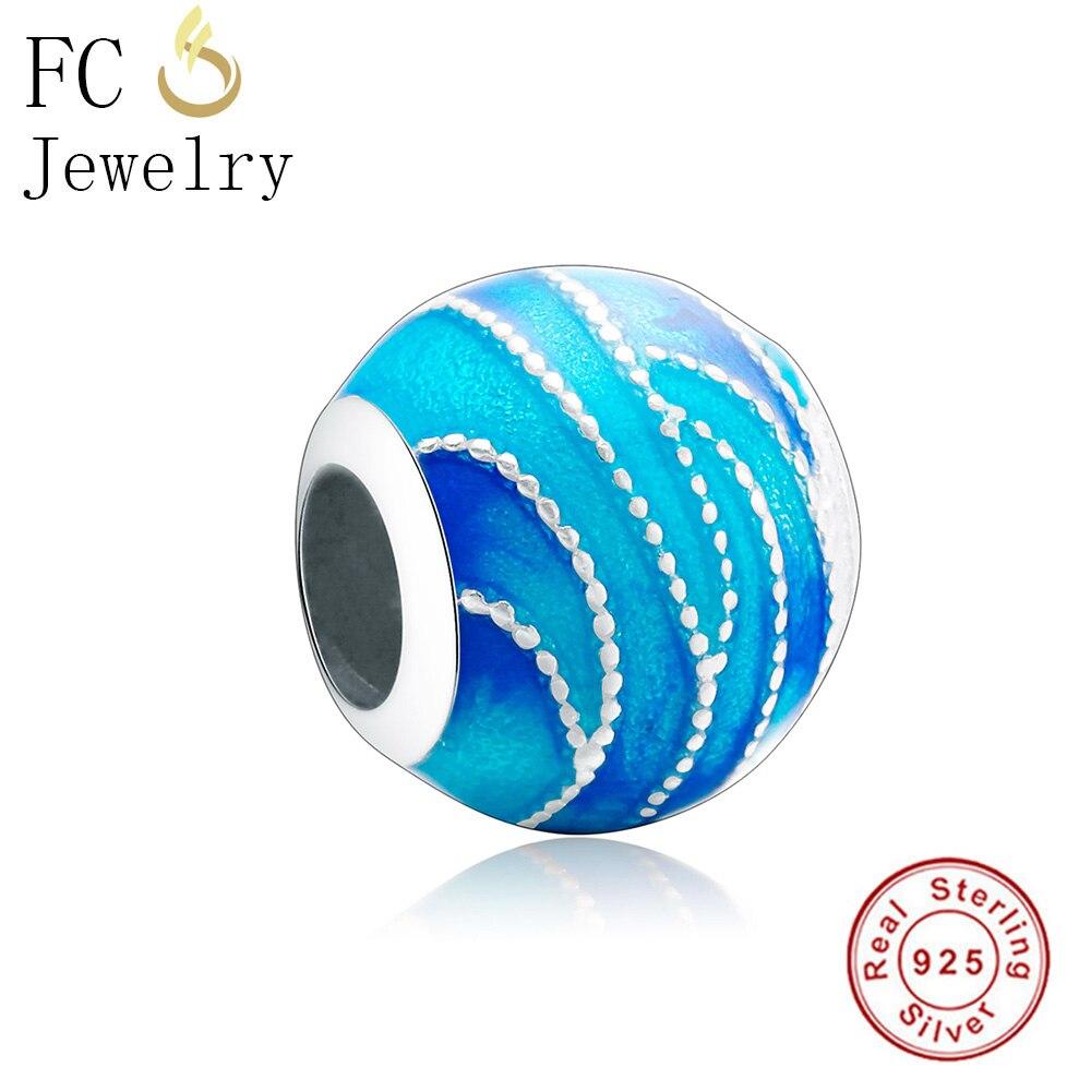 FC Jewelry Fits Original Pandora Charms Bracelets Authentic 925 Silver Enamel Lake Blue Sea Sky Beads for DIY Gifts Berloque