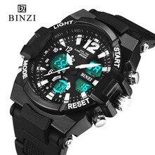 BINZI De Luxe Marque Hommes Montre Mode Casual Silicone Sport LED Numérique Hommes Montre-Bracelet D'affaires de montre-Bracelet Relogio Masculino