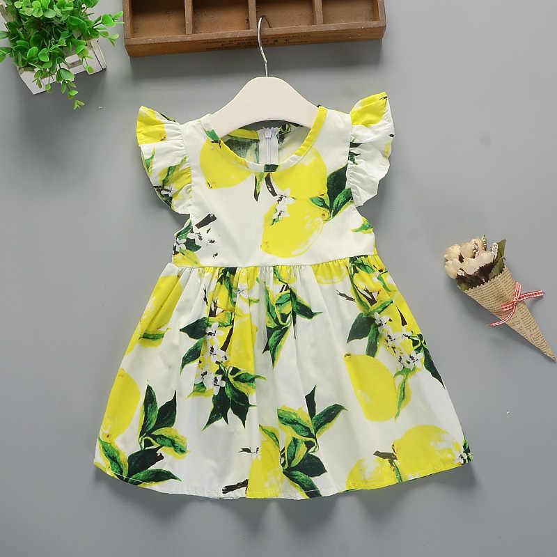 Платье для девочек 2019 г. Новое летнее платье Детское лепестковое хлопковое платье с рукавами для девочек милое платье принцессы с цветочным рисунком для девочек костюм для девочек