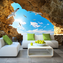 Custom Murals 3D Blue Sky White Clouds with Seagulls at a Cave Landscape
