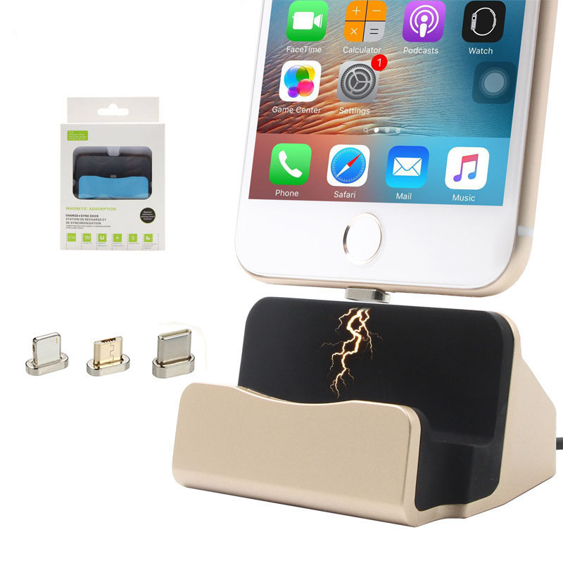 Magnet Data Charging Magnetic <font><b>Charger</b></font> <font><b>USB</b></font> Cable Dock Station Desktop Docking For iPhone <font><b>5</b></font> 5s 6 6s 7 Plus iPod Android Type C image