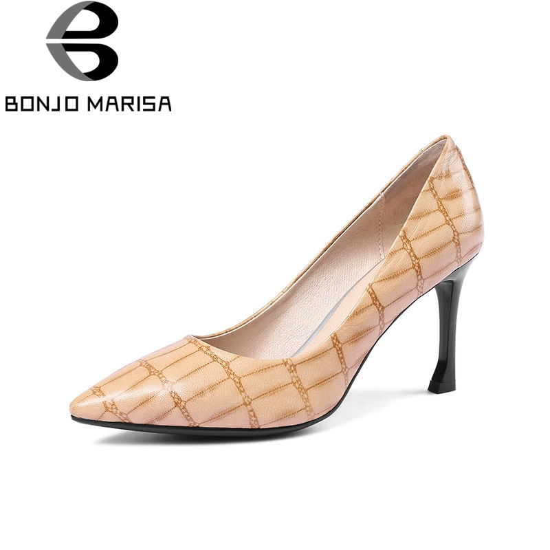 BONJOMARISA 2018 Spring Autumn New High Thin Heels Genuine Leather Women Pumps Big Size 33-43 Mature Mixed Color Ol Shoes Woman 2016 new pumps ol style thick high heels women shoes with bowtie pu leather shoes woman for spring 3 colors size 35 39 xwd717