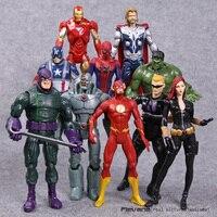 Super-heróis da marvel Homem De Ferro Hulk Thor Vingadores Brinquedos 10 pçs/set Black Widow Hawkeye The Flash PVC Figuras de Ação 18 cm HRFG477