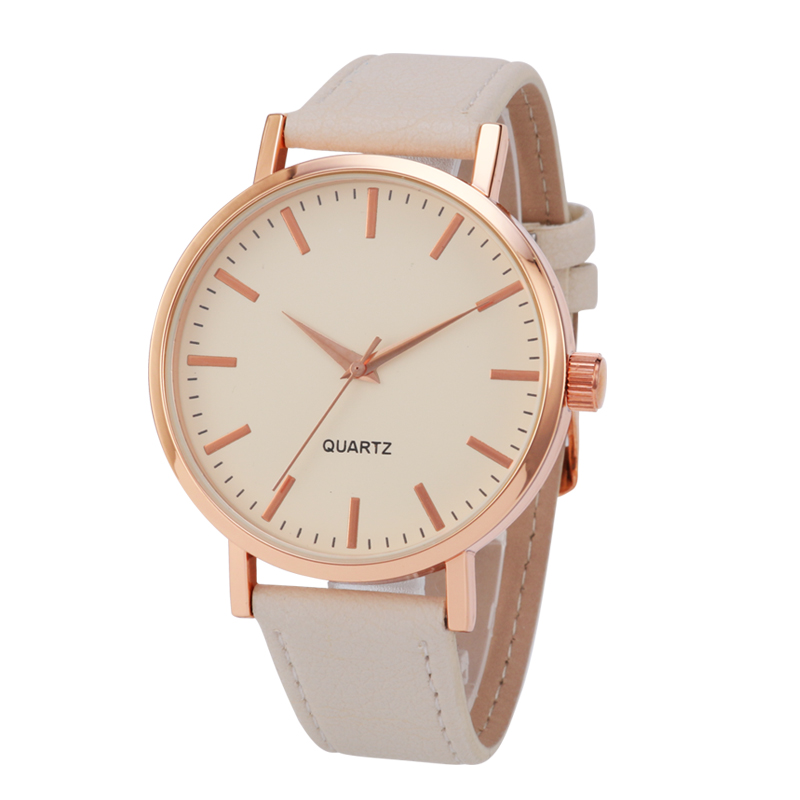 <font><b>big</b></font> dial <font><b>watch</b></font> <font><b>unisex</b></font> cream dial color PU leather strap rose gold color <font><b>watch</b></font> stainless steel back japan movement image