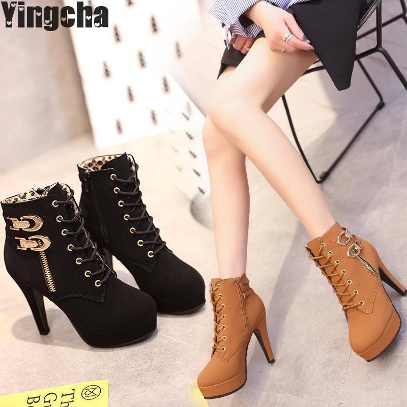 2018 New Autumn Winter Women Boots High Quality Solid Lace-up European Ladies Shoes Pu Fashion High Heels Boots Size35-43 high quality genuine leather women shoes spring and autumn high heels women boots hollow out lace ladies fashion boots