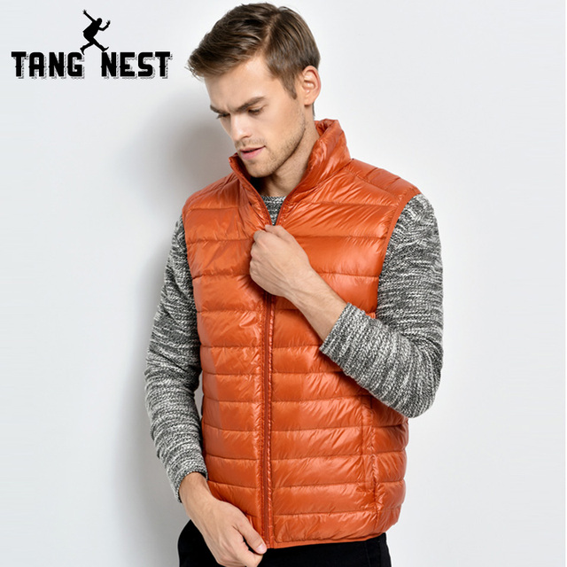 TANGNEST 2017 Down Jacket Warm Fashion Men Vest Solid Color Stand Collar Vest Eight Colors Asian Size Vest MWB246