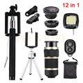 Lentes de telefonia móvel 12in1 Kit de Lentes olho de Peixe Grande Angular Macro clips 8x zoom lente com tripé selfie flash luz de preenchimento