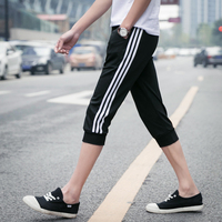Summer Style Casual Skinny Shorts Men Slim Drawstring Shorts Homme Male Capris Knee Length Trousers All