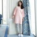 2016 otoño ropa de mujer conjuntos pijamas de algodón Femenino encantador lindo salón de la ropa de manga larga casual cuello redondo traje XXXL