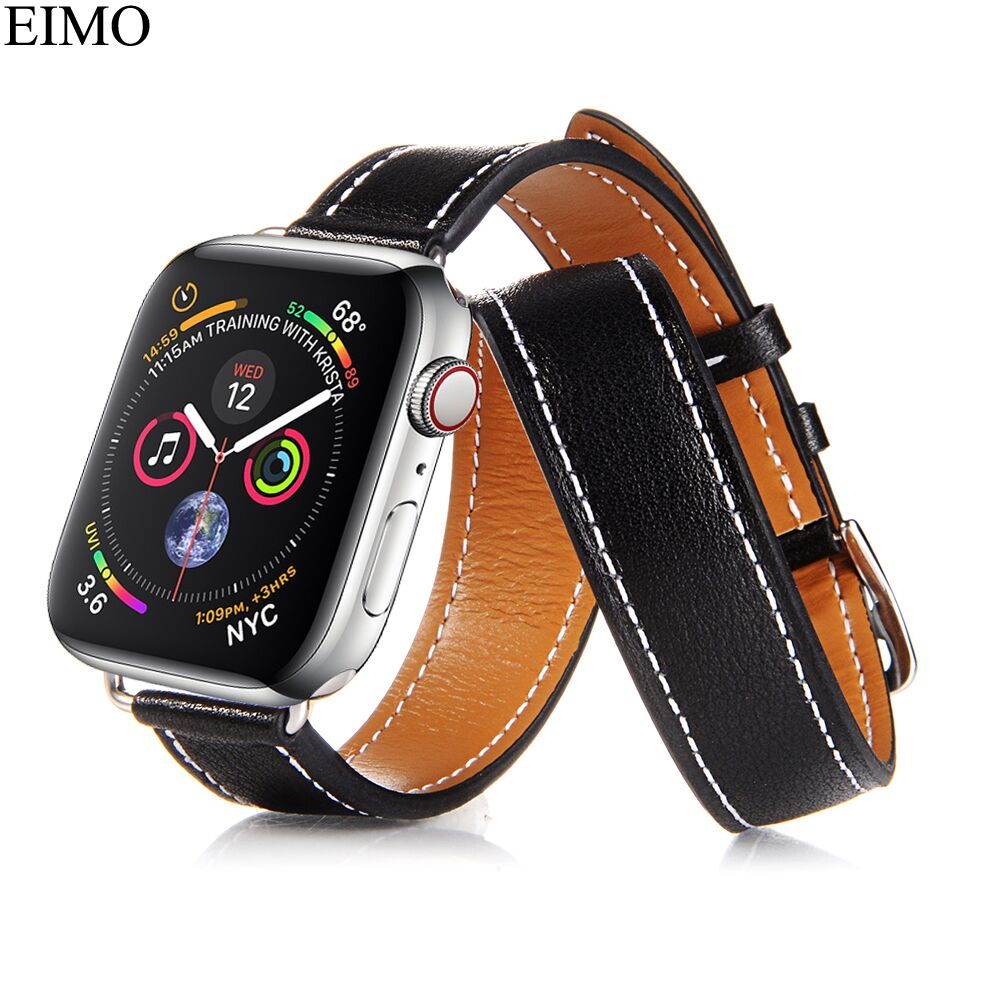 CRESTED Genuine leather band For Apple Watch 44mm/40mm iwatch serise 4 Double tour Lit Leather wrist bands bracelet strap цена