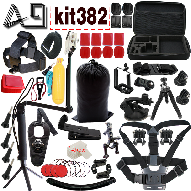 A9 pour Gopro Accessoires set pour go pro hero 5 4 3 kit de montage pour SJCAM SJ4000/eken h9/xiaomi yi caméra trépied kit382