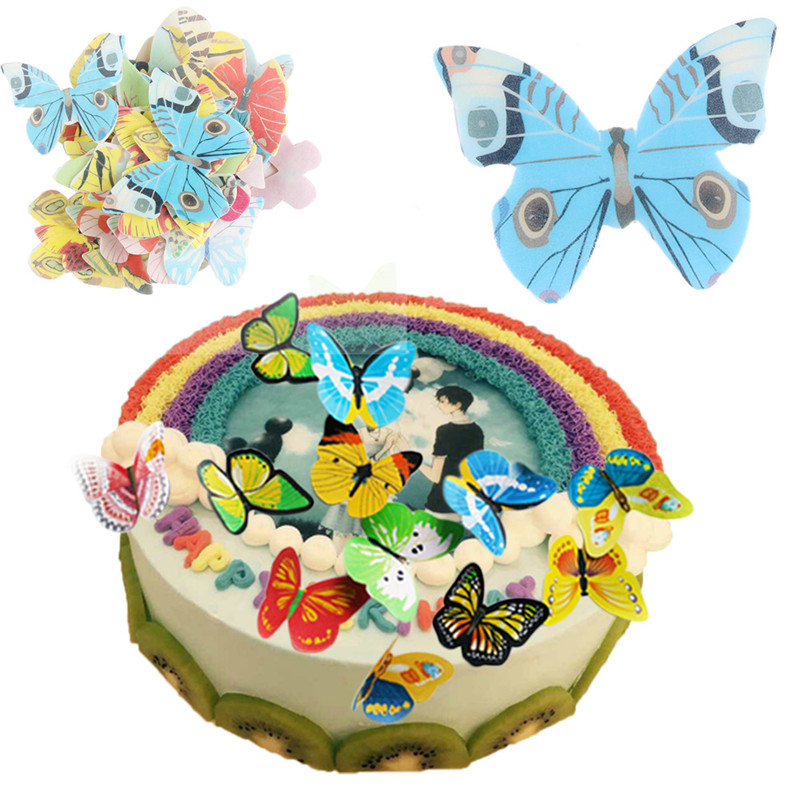 TTLIFE 42pcs/lot Butterfly Edible Glutinous Wafer Rice Paper Cupcake Toppers For Cake Decoration Birthday Wedding Tools