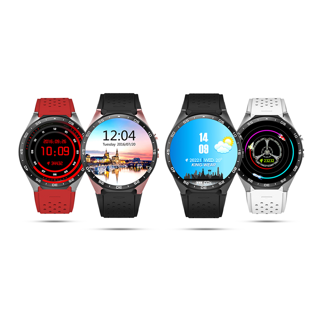 1.39 Inch Screen KW88 Android 5.1 OS Bluetooth Smart Wristwatches support 3G wifi nano SIM WCDMA Heart Rate for apple smartphone