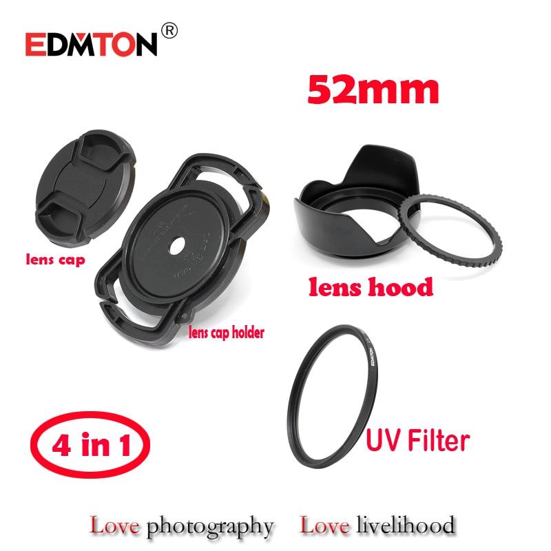 52 mm UV filtrs + objektīva vāciņš + objektīva pārsegs + objektīva vāciņa turētājs Universāls pretnodiluma sprādzes turētājs turētājs Canon Nikon sony pentax