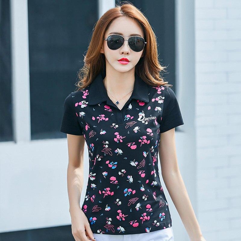 100% Wahr Blume Gedruckt Dame Baumwolle Polo Shirts Plus Größe M-4xl Atmungsaktive Sommer Kurzarm Mädchen Casual Tees Tops