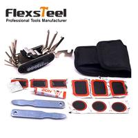 Flexsteel Bike Bicycle Tire Repair Kits   Tools   Set Rubber Patch Wrench Glue Kit Portable Bag-Packed Cycling Bicycle Repair Set