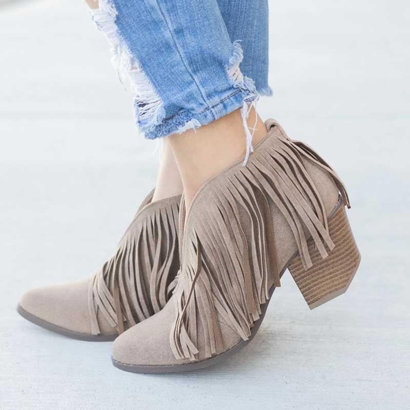 2019 şık kadın ayakkabı Retro saçak süet yüksek topuk yarım çizmeler kadın orta topuklu rahat Mujer patik Feminina artı boyutu 43