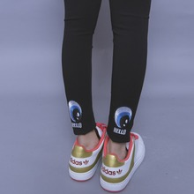 Classic black HARAJUKU all-match behind the embroidery letter elastic legging female