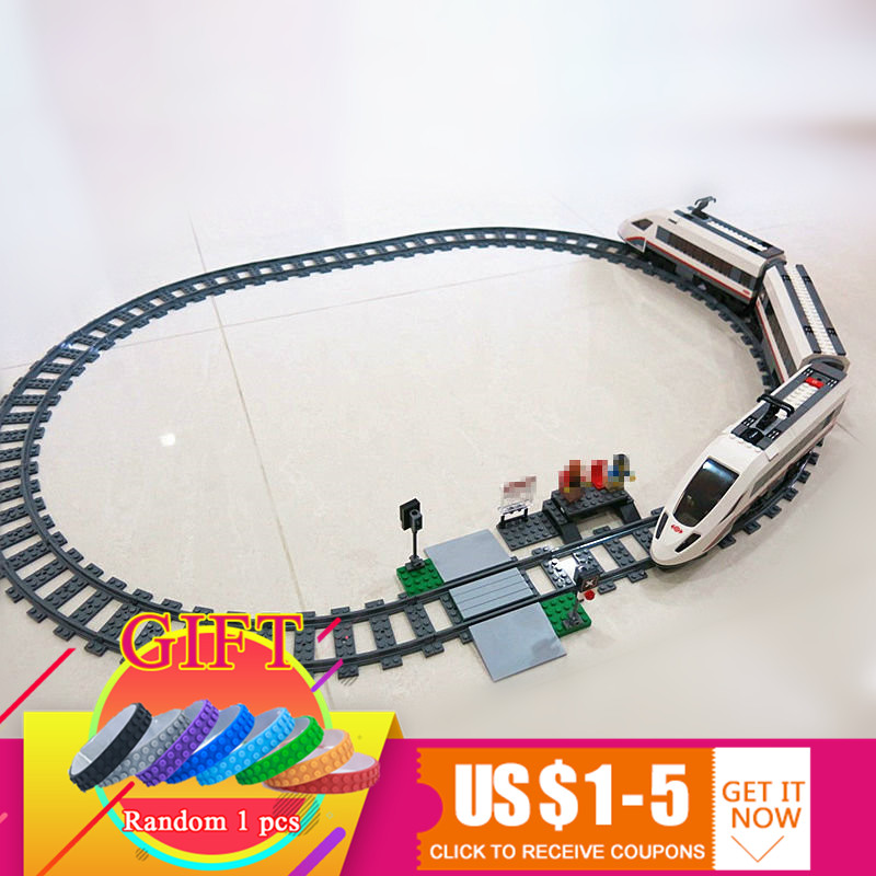 02010 610Pcs The High-speed Passenger Train Set City Series Educational Building Blocks Compatible with 60051 toys gift lepin lepin 02010 city trains high speed passenger train model building blocks enlighten diy figure toys for children compatible 60051
