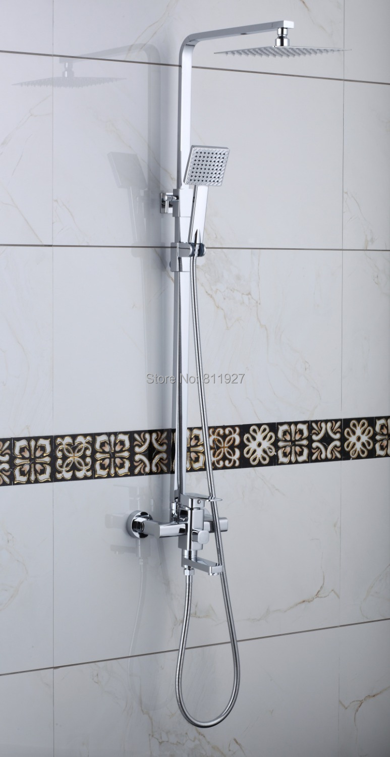 Bathroom Shower Sets Us 169 High Quality 8 Inch Brass Square Sliding Shower Faucet Set Lanos Bathroom Shower Lada Bath Mixer Tap In Bathtub Faucets From Home