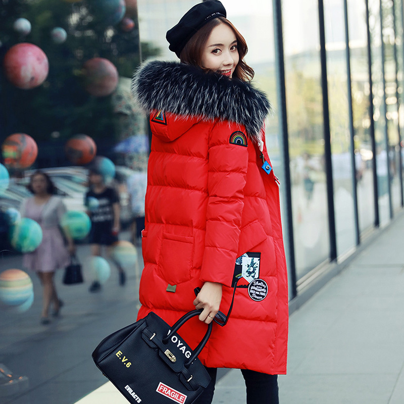 2017 New Korean Large Real Fur Collar Jacket Cartoon Labeling Red Thick Coat Letter Wide-waisted Casual Long Winter Jacket Women