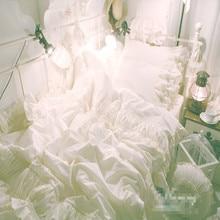 цена на  Free shipping!Korean white princess bedding set no filling 4pcs full queen king size ruffle flounce lace princess bed skirt