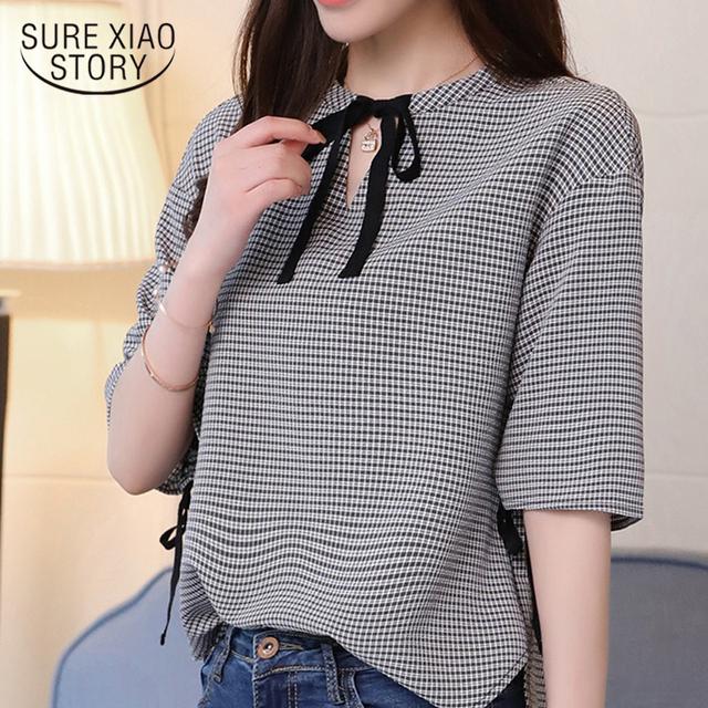2018 fashion sweet plaid women blouse shirt summer half sleeve v neck slim thin ladies tops casual women clothing blusas 0286 40