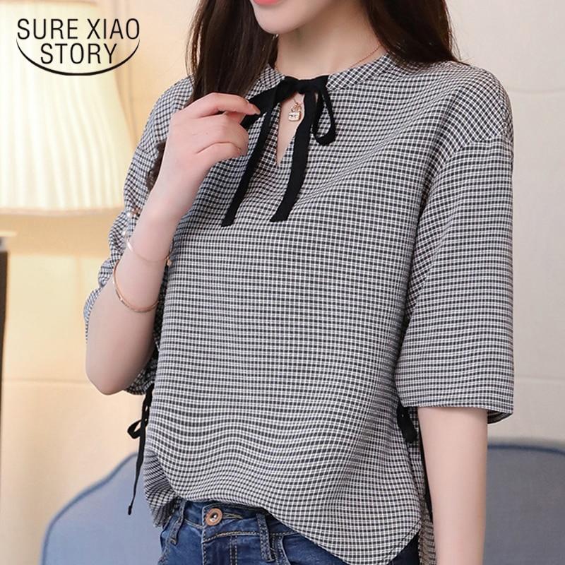 2019 fashion sweet plaid women blouse shirt summer half sleeve v neck slim thin ladies tops casual women clothing blusas 0286 40