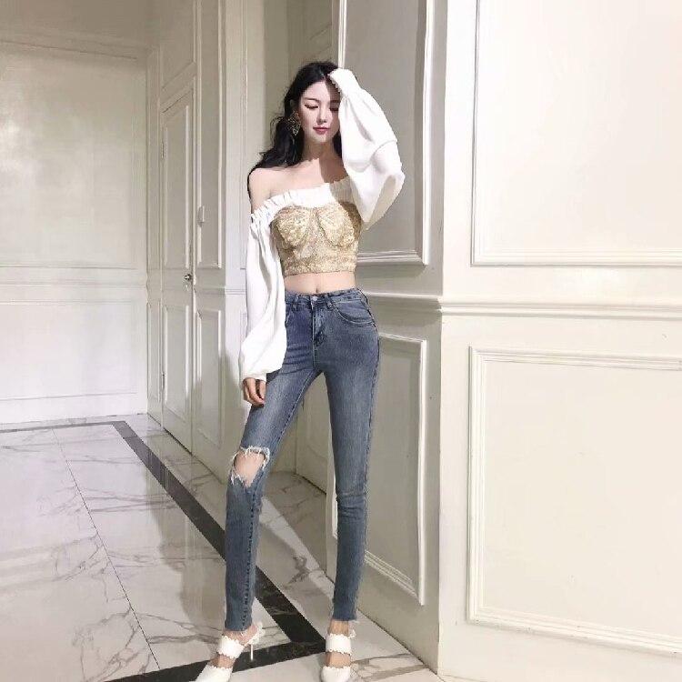 Poitrine Shirt Slash Whitney Patchwork En Mousseline Femmes Chemisier Cou Tops 2 Dentelle Wang Blusas Mode Blanc 2019 Printemps Streetwear Pièces O1PvcT160