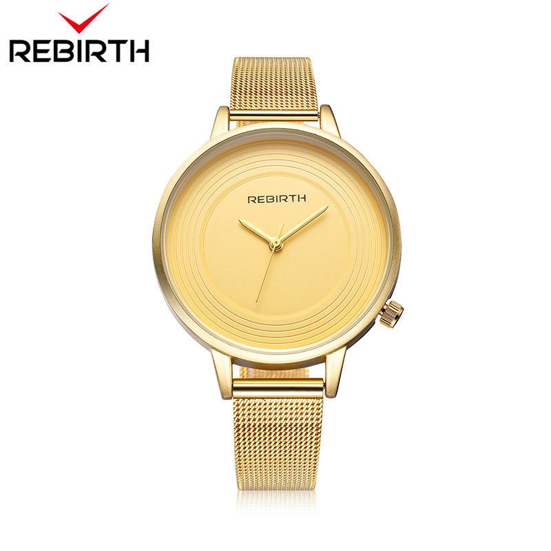 REBIRTH High-profile relogio feminino women watch famous brands Casual Women Ladies Gold Stainless Steel Mesh Band Wrist Watches 2017 women watches hot ladies crystal roman numerals gold mesh band wrist watch stainless steel dress relogio feminino clock