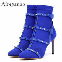 a7abd9ab5a ... Salto Alto Mulher Sexy Estiramento Meias. 2019 Gold Rivet Knitting  Ankle Boots Women Round Toe Ankle Strap High Heel Boots Woman Sexy