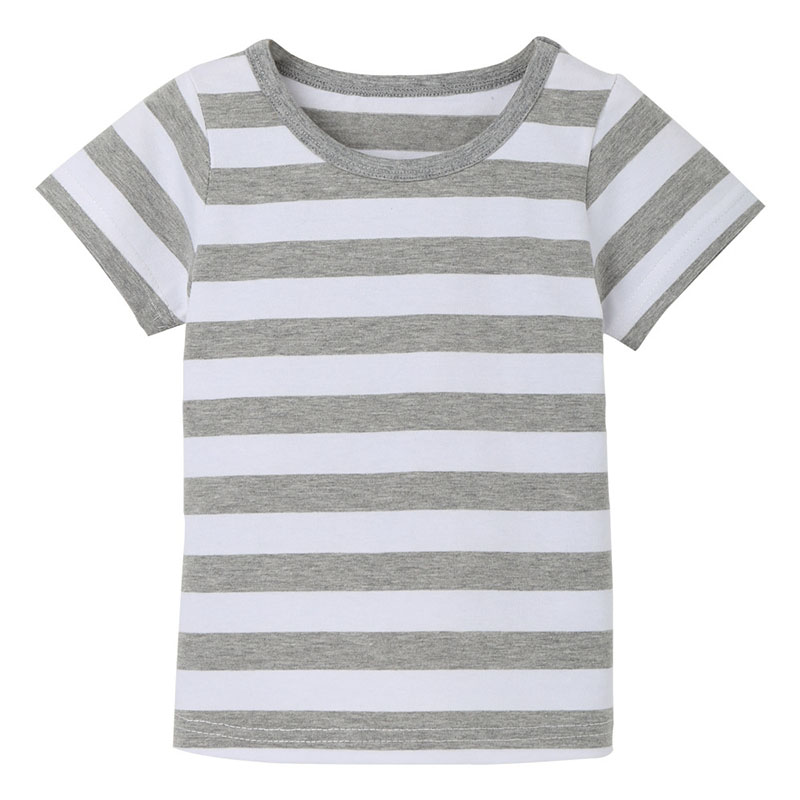 Cotton TShirt Children Girl Boy Summer Beach Unisex No pattern Grey white Striped 2 3 4 5 6 7 8 year Kid Tees for Top Wear