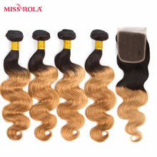 Miss Rola Hair Pre-colored Ombre Peruvian Body Wave Hair #1B/27 100% Human Hair 4 Bundles with Closure Hair Extensions Non Remy