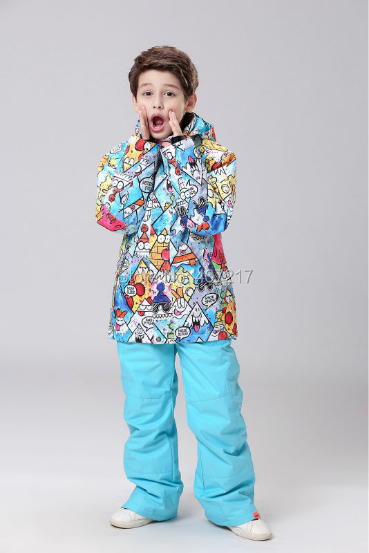 2016 children's colorful cartoon ski suit boy's snowboard suit kids skiing jackets pants boys skiwear anorak snow suit snow wear