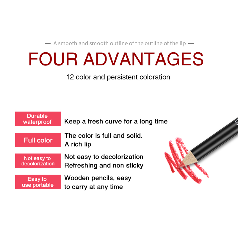 12 Colors/Set Stylish Black Color Sexy Matte Stick Waterproof Lasting Lip Liner Pencil Set Beauty Makeup Cosmetic ##