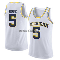 5 Jalen Rose Michigan State throwback basketball jersey Embroidery Stitched Customize any name and number