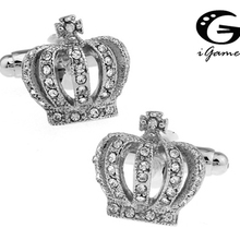 iGame Royal Cuff Links Novelty Crown Design Silver Color White Crystal Copper Material Free Shipping